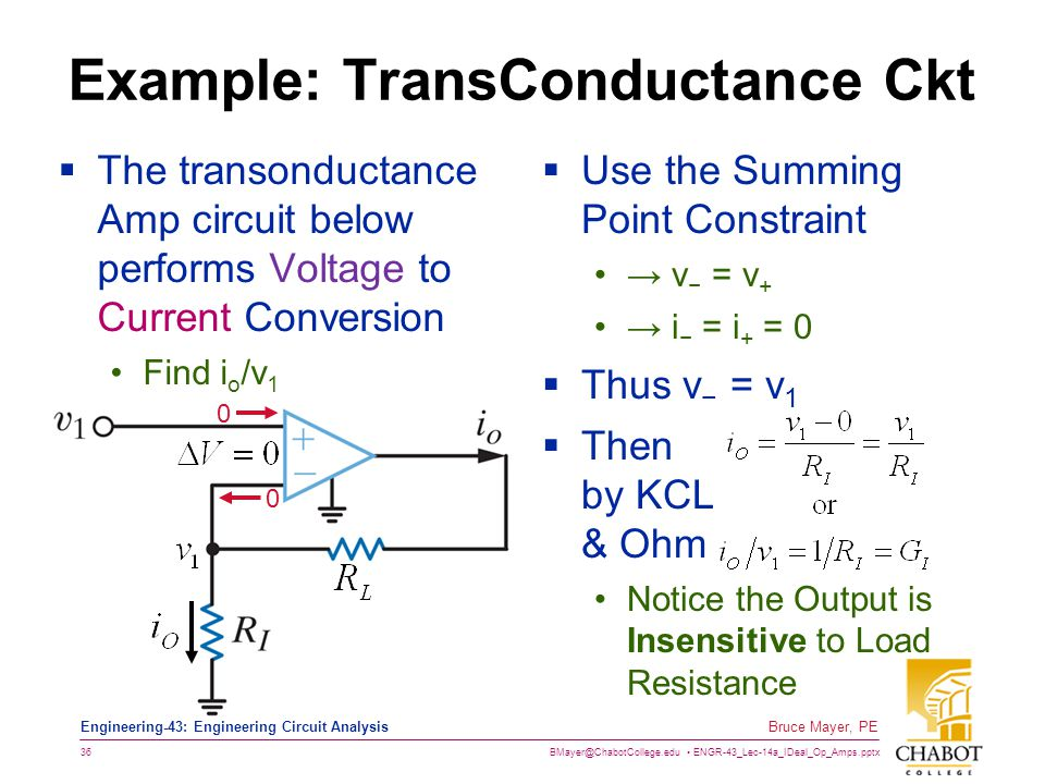 Example: TransConductance Ckt