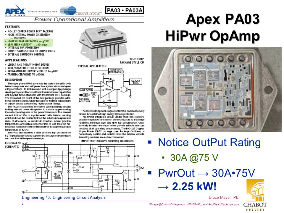 Apex PA03 HiPwr OpAmp Notice OutPut Rating PwrOut → 30A•75V → 2.25 kW!