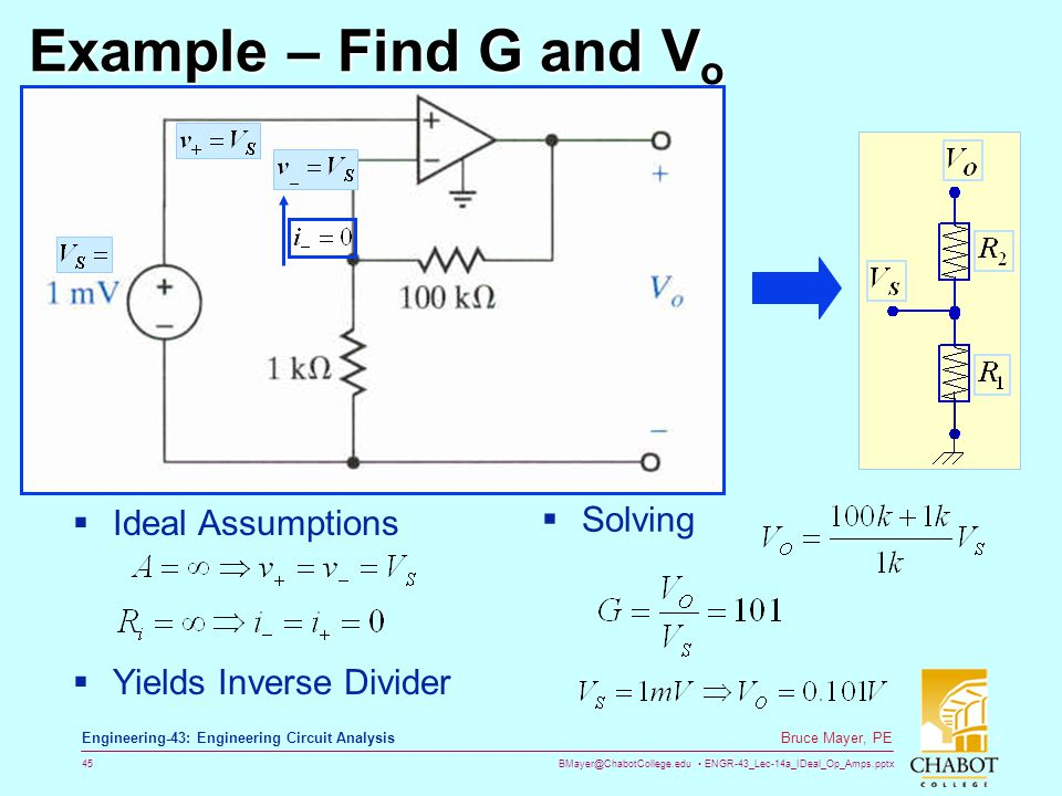 Example – Find G and Vo Solving Ideal Assumptions