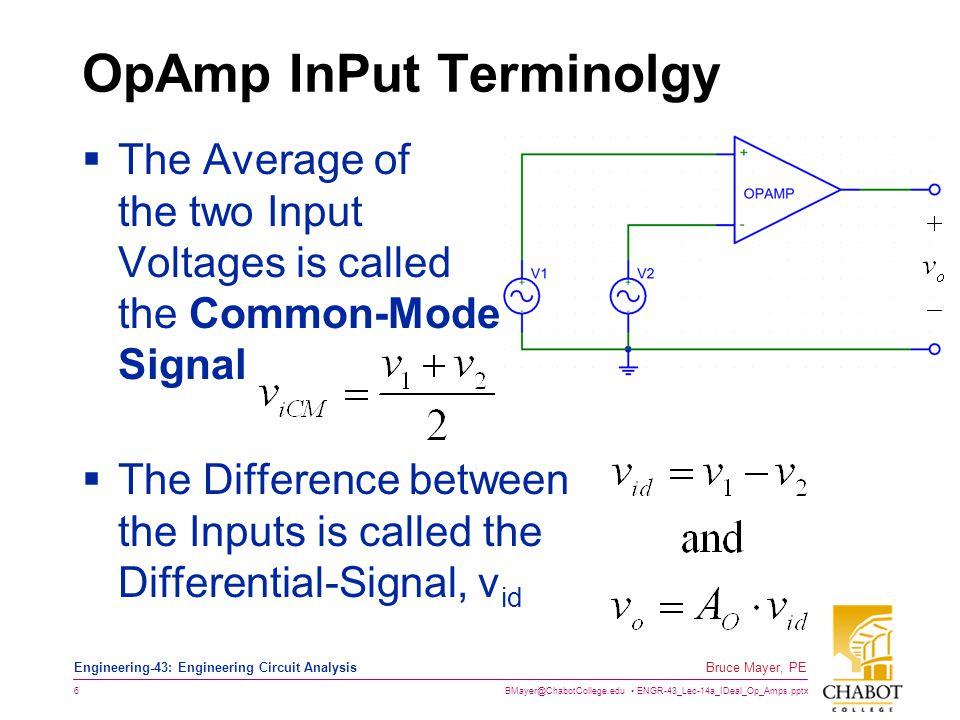 OpAmp InPut Terminolgy