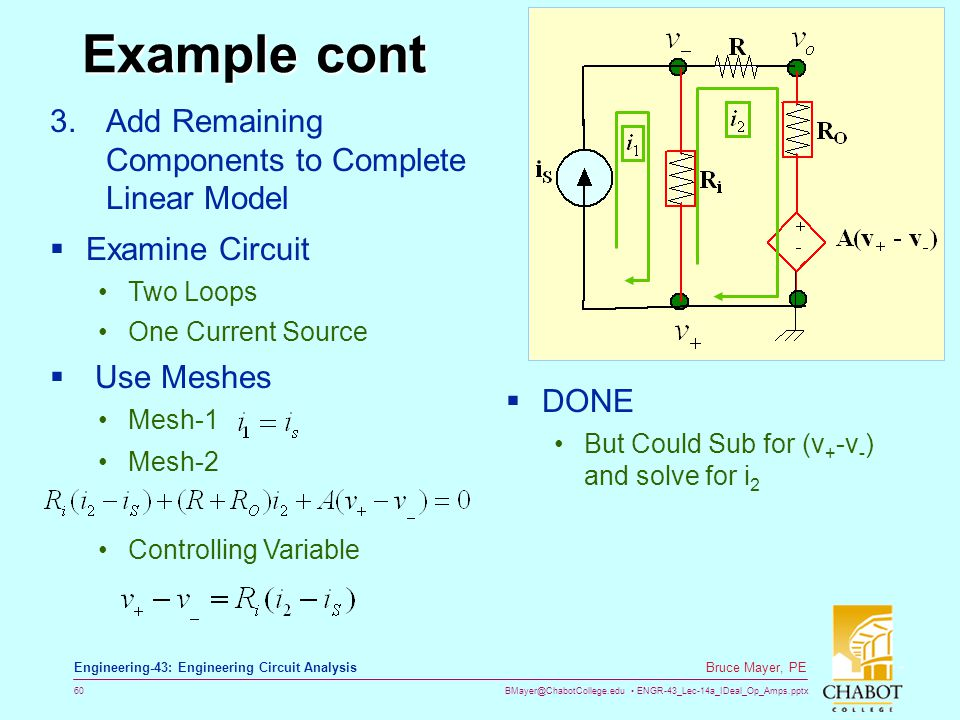 Example cont Add Remaining Components to Complete Linear Model