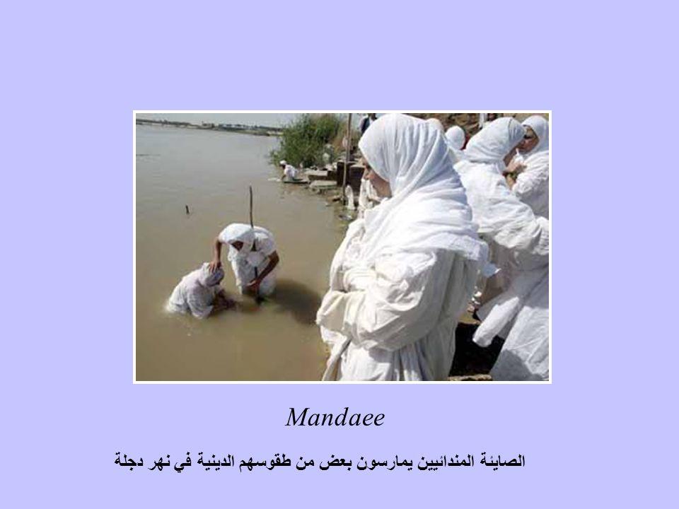Mandaee الصايئة المندائيين يمارسون بعض من طقوسهم الدينية في نهر دجلة