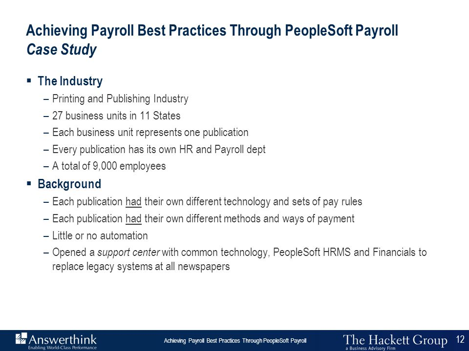 Achieving Payroll Best Practices Through PeopleSoft Payroll Case Study