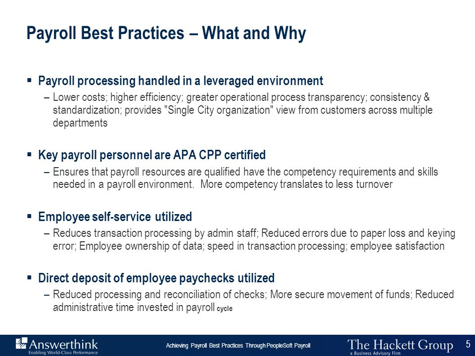 Payroll Best Practices – What and Why