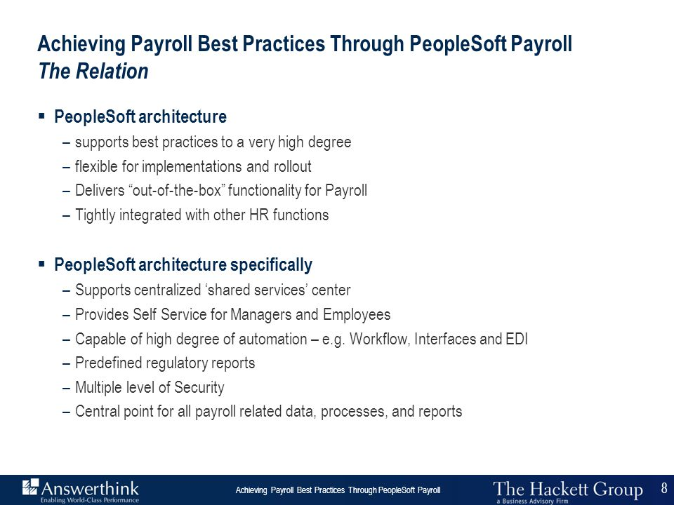 Achieving Payroll Best Practices Through PeopleSoft Payroll The Relation