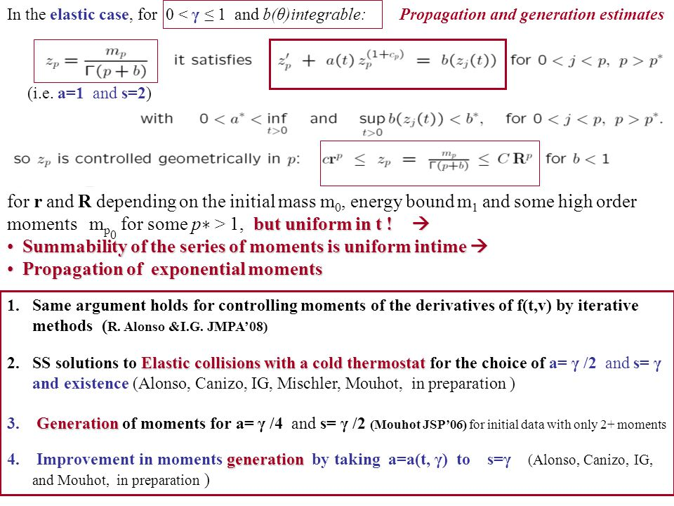 Summability of the series of moments is uniform intime 