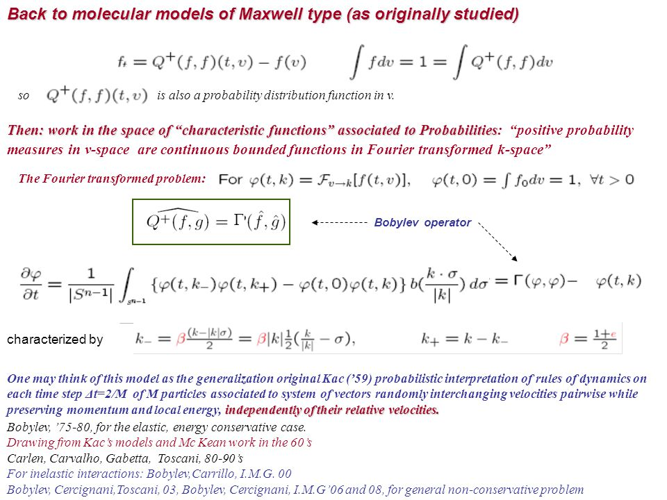 Back to molecular models of Maxwell type (as originally studied)