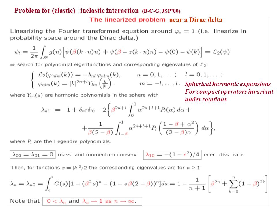 Problem for (elastic) inelastic interaction (B-C-G, JSP'00)