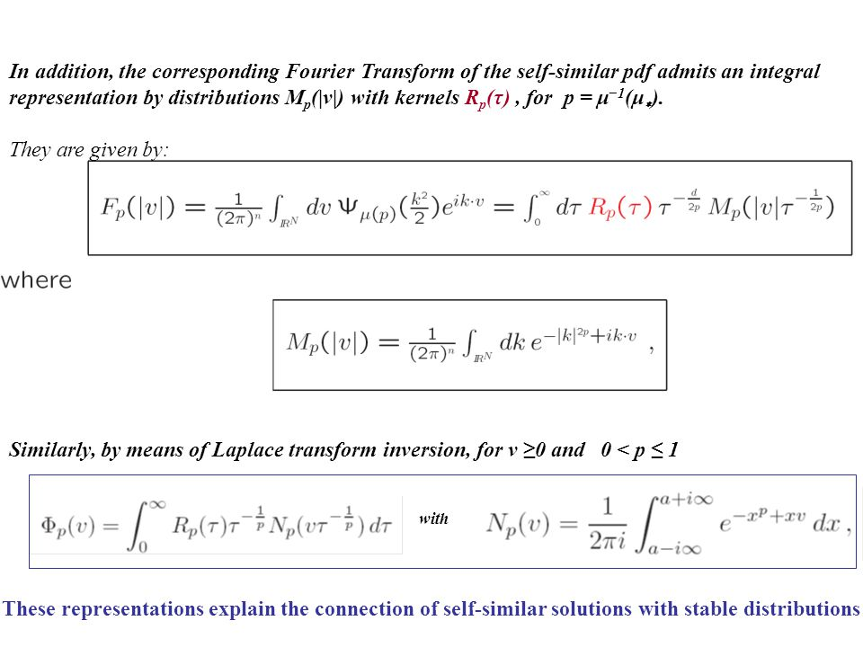 In addition, the corresponding Fourier Transform of the self-similar pdf admits an integral representation by distributions Mp(|v|) with kernels Rp(τ) , for p = μ−1(μ∗).