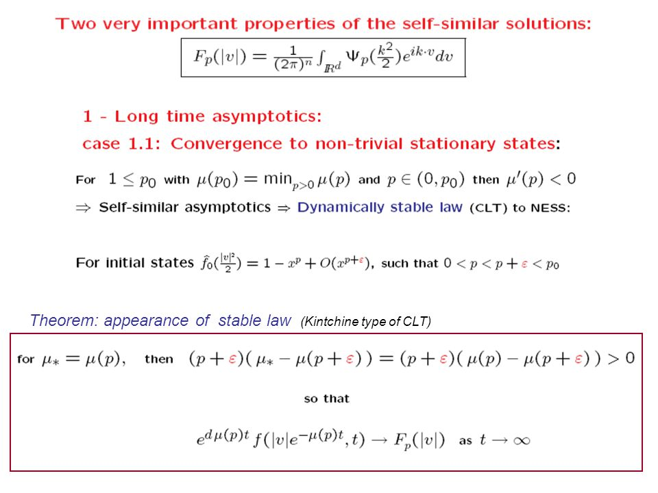 Theorem: appearance of stable law (Kintchine type of CLT)