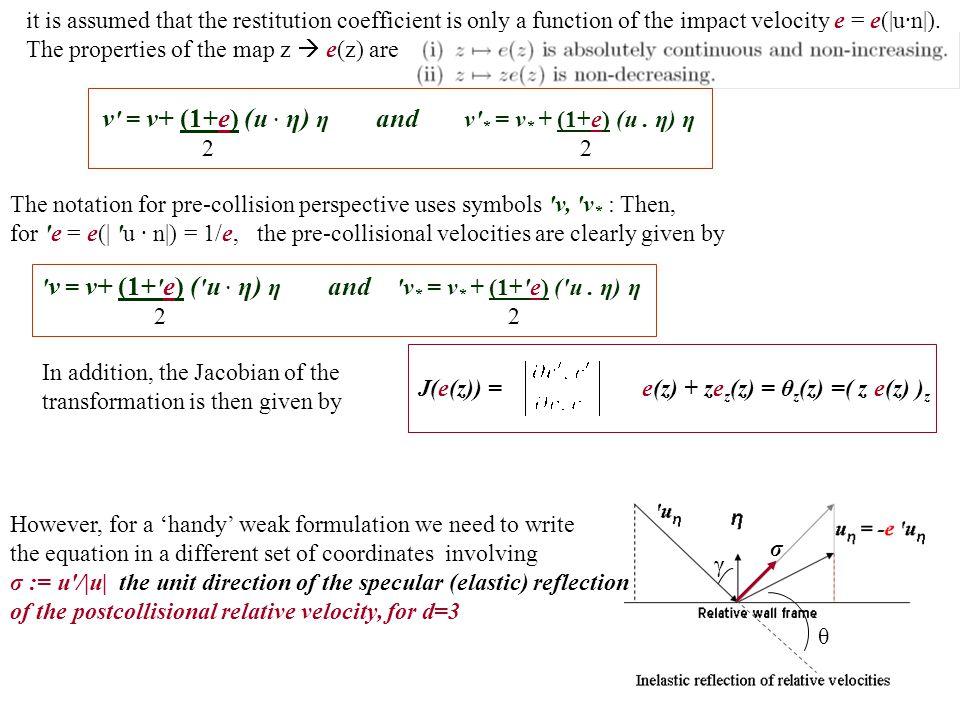 v = v+ (1+e) (u . η) η and v * = v* + (1+e) (u . η) η