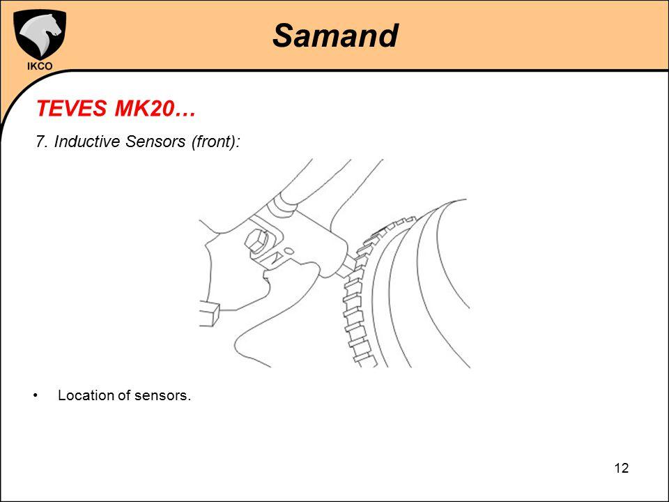 Samand TEVES MK20… 7. Inductive Sensors (front): Location of sensors.