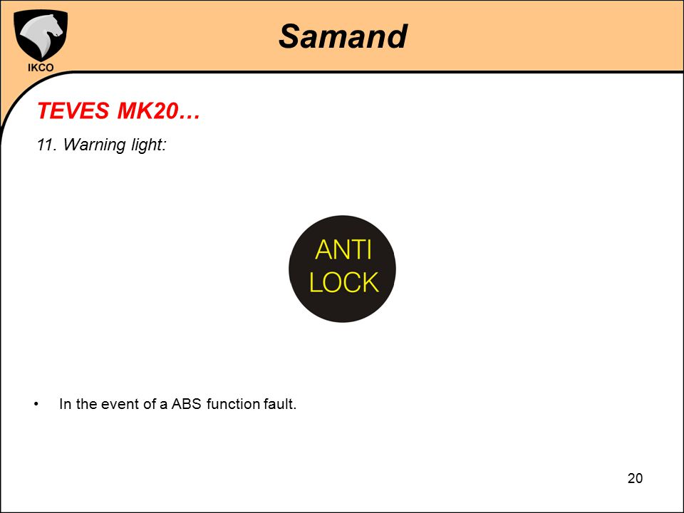 Samand TEVES MK20… 11. Warning light: