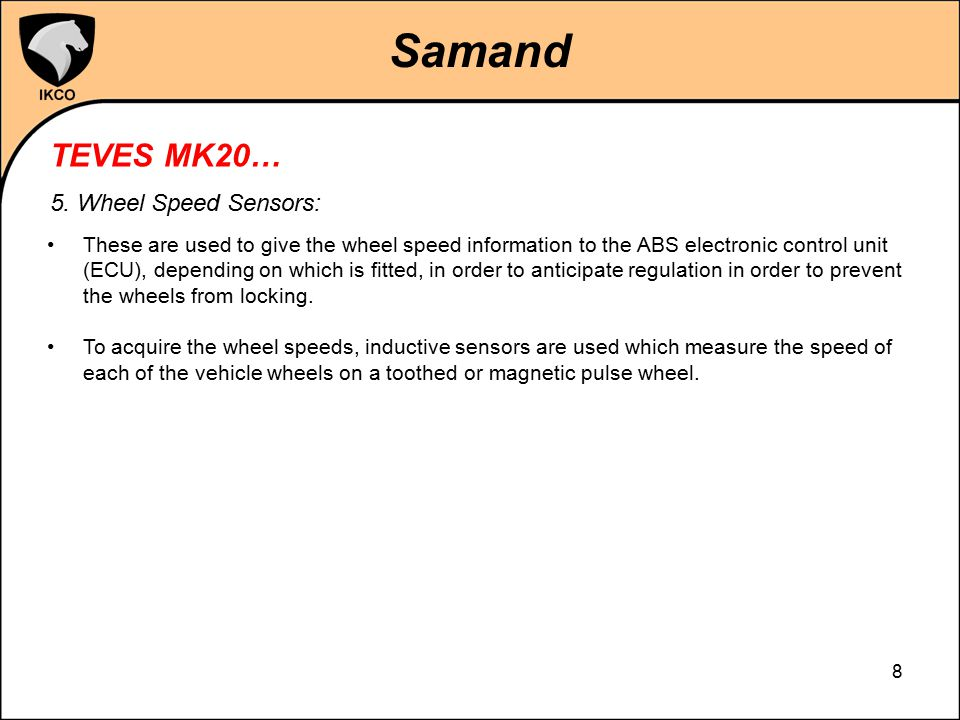 Samand TEVES MK20… 5. Wheel Speed Sensors: