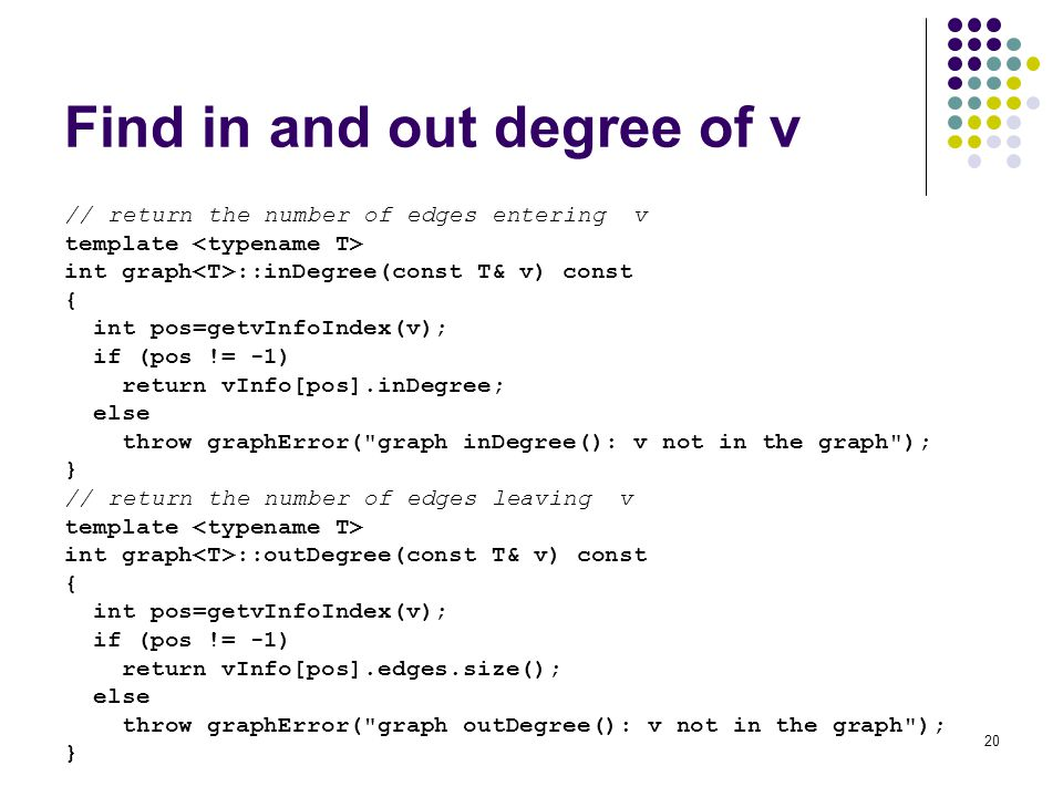 Find in and out degree of v