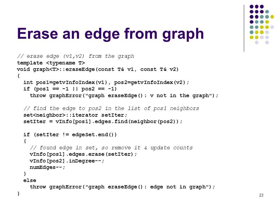 Erase an edge from graph