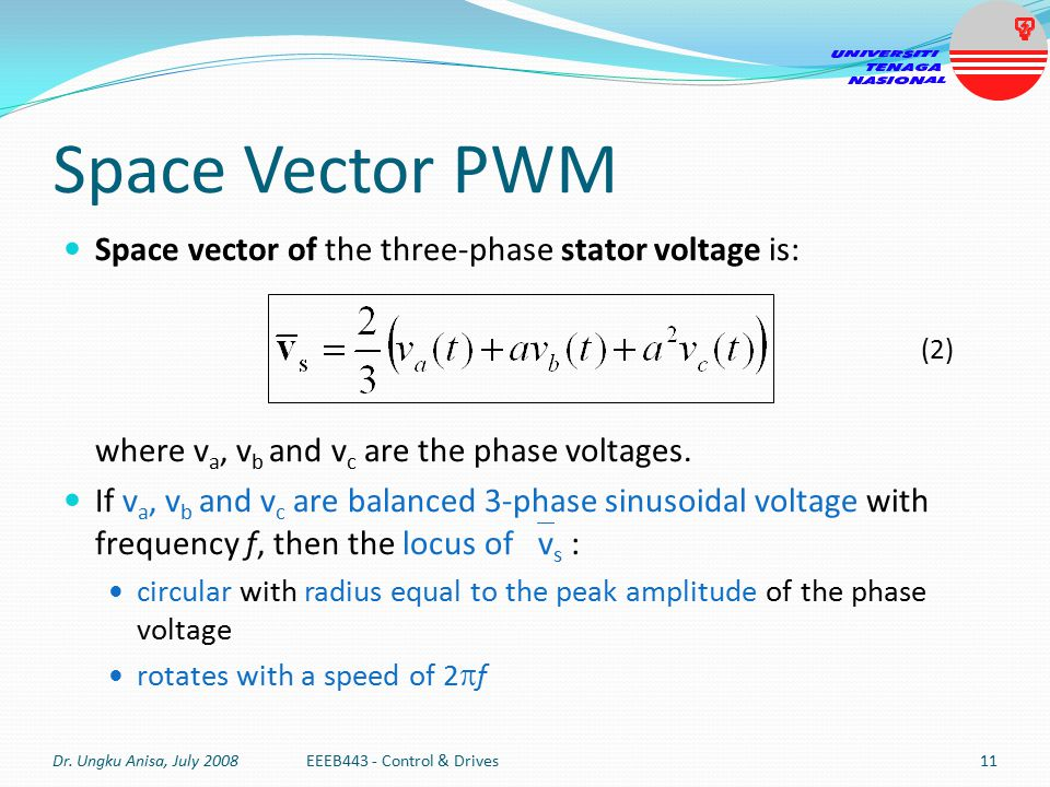 Space Vector PWM Space vector of the three-phase stator voltage is: