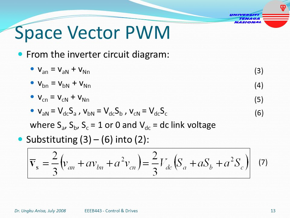 Space Vector PWM From the inverter circuit diagram:
