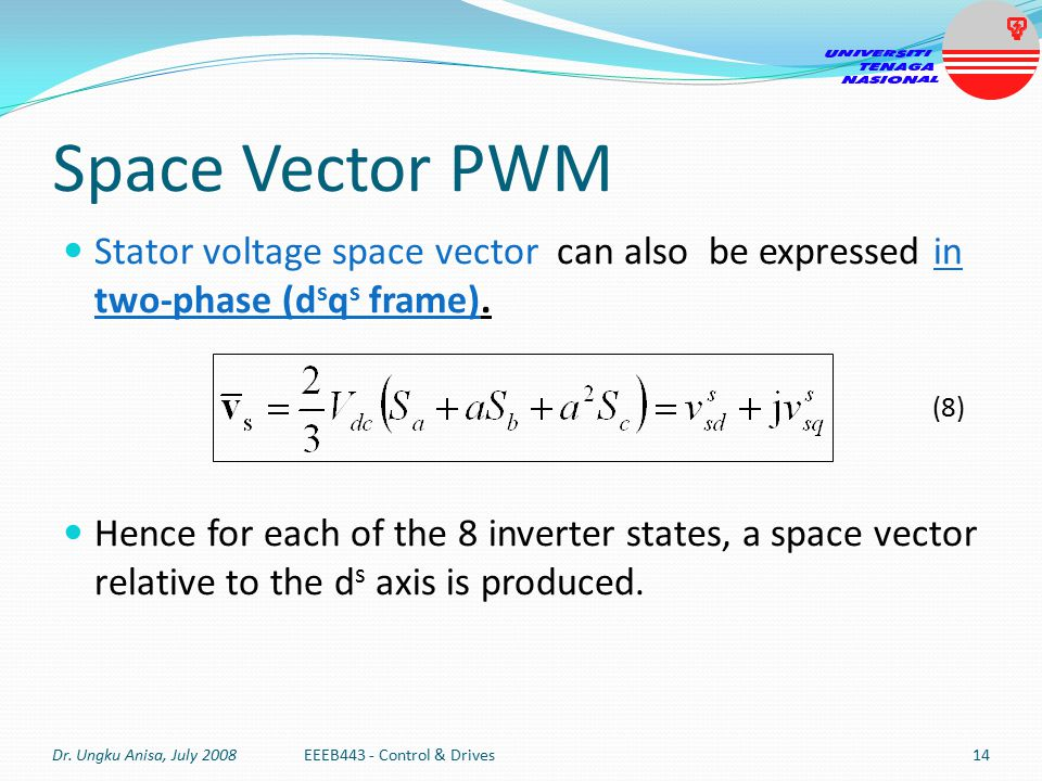 Space Vector PWM Stator voltage space vector can also be expressed in two-phase (dsqs frame).