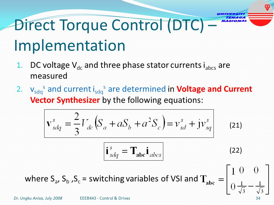Direct Torque Control (DTC) – Implementation