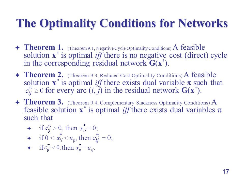 The Optimality Conditions for Networks
