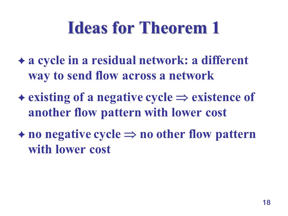 Ideas for Theorem 1 a cycle in a residual network: a different way to send flow across a network.
