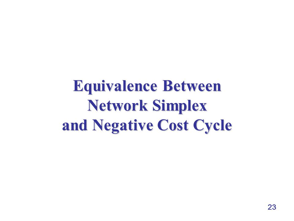 Equivalence Between Network Simplex and Negative Cost Cycle