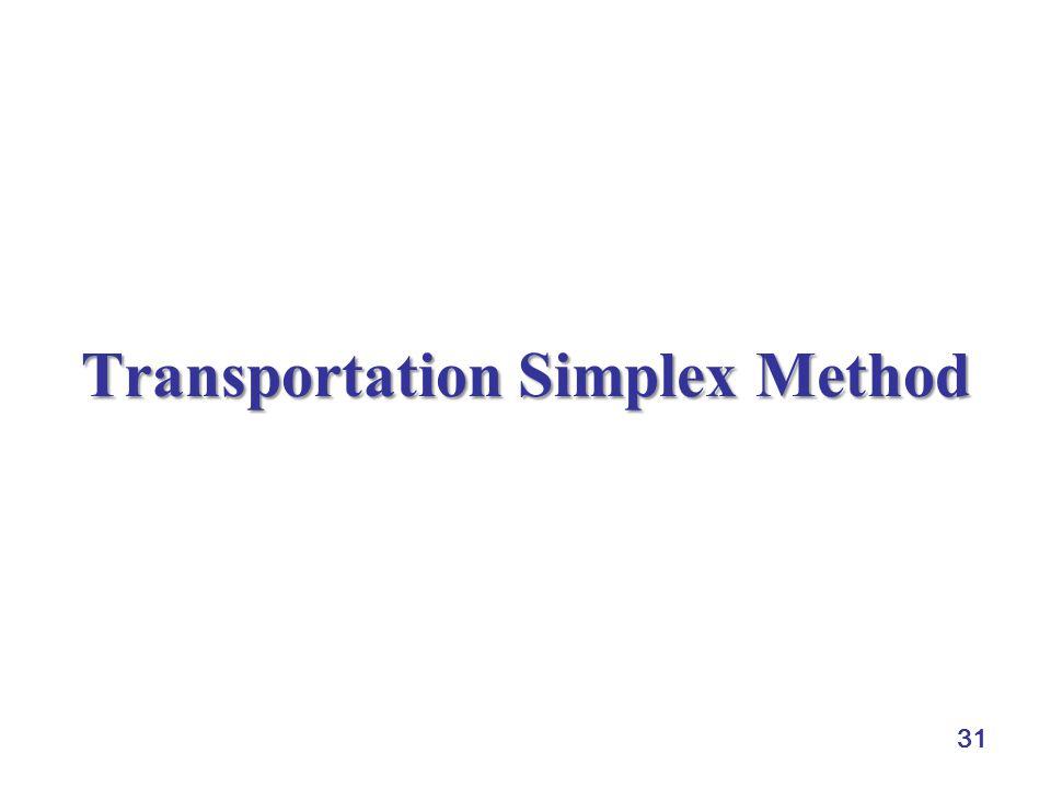 Transportation Simplex Method