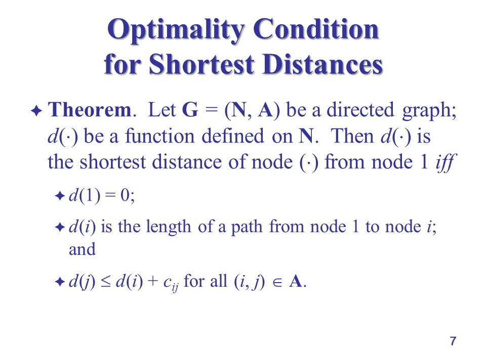 Optimality Condition for Shortest Distances