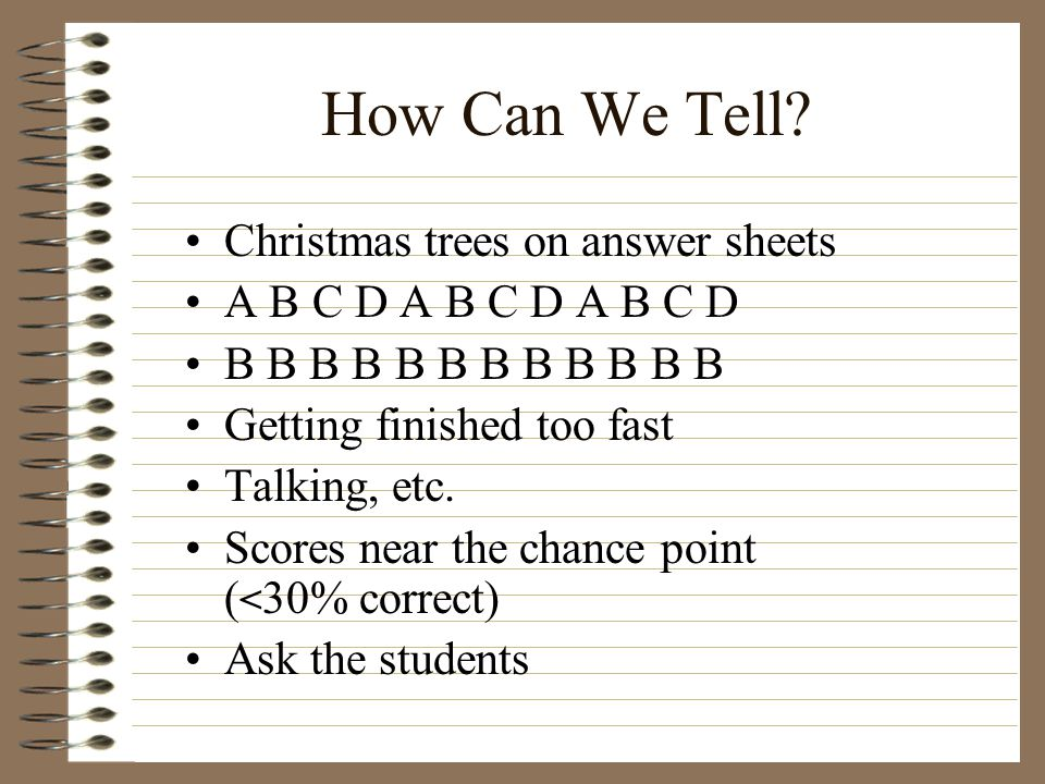How Can We Tell Christmas trees on answer sheets