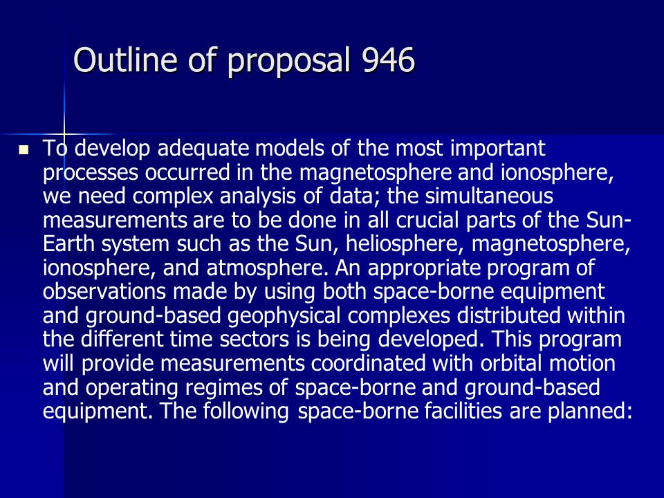 Outline of proposal 946