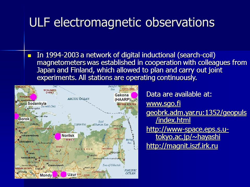 ULF electromagnetic observations