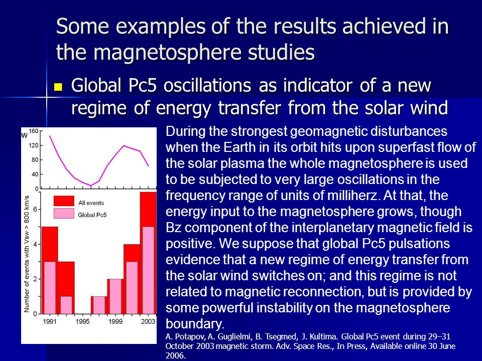 Some examples of the results achieved in the magnetosphere studies