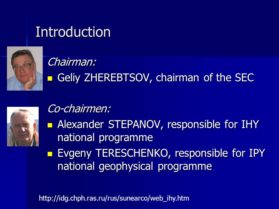 Introduction Chairman: Geliy ZHEREBTSOV, chairman of the SEC