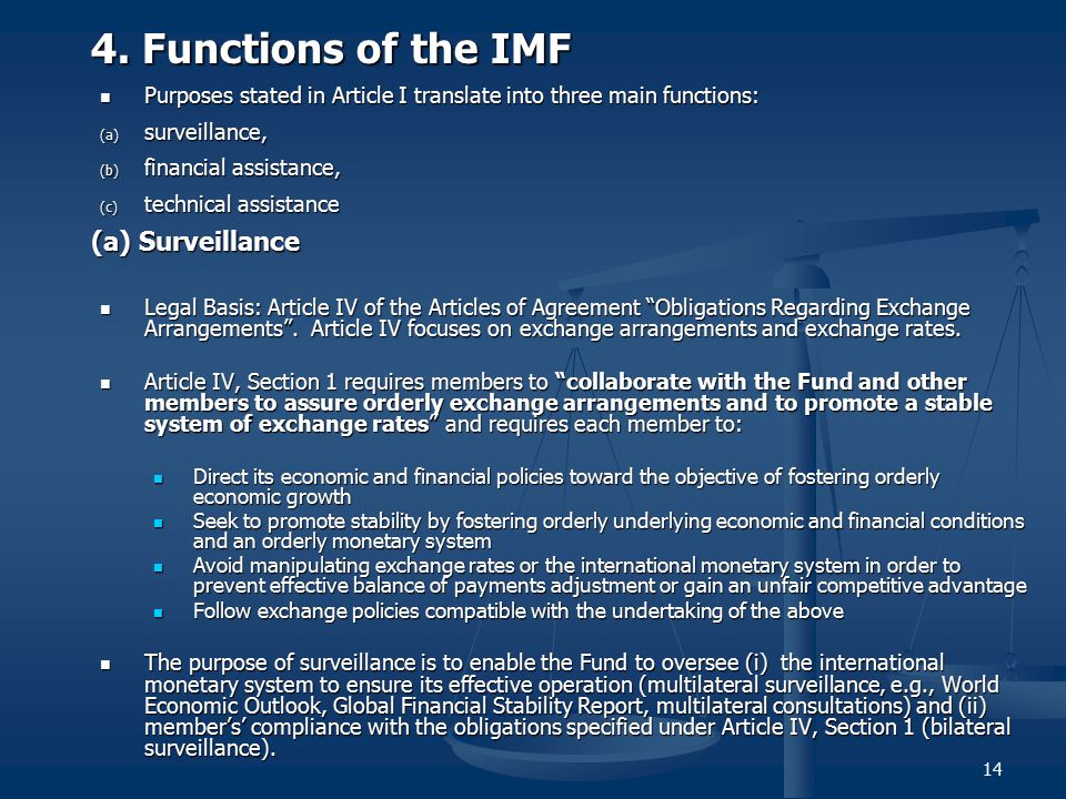 4. Functions of the IMF (a) Surveillance