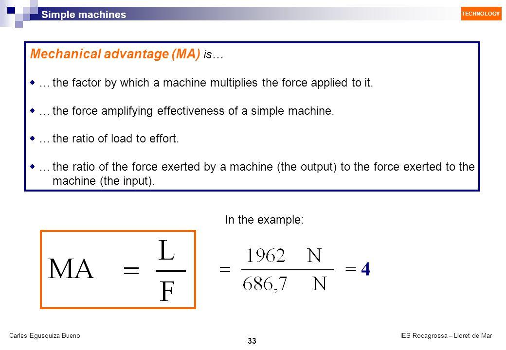 = 4 Mechanical advantage (MA) is…