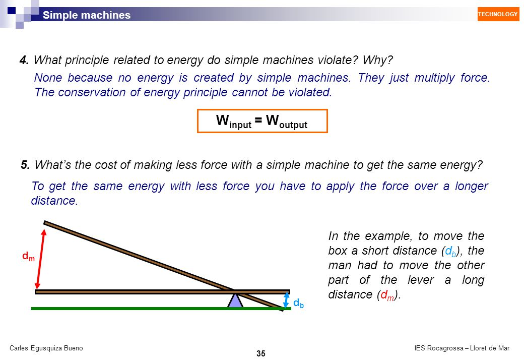 4. What principle related to energy do simple machines violate Why