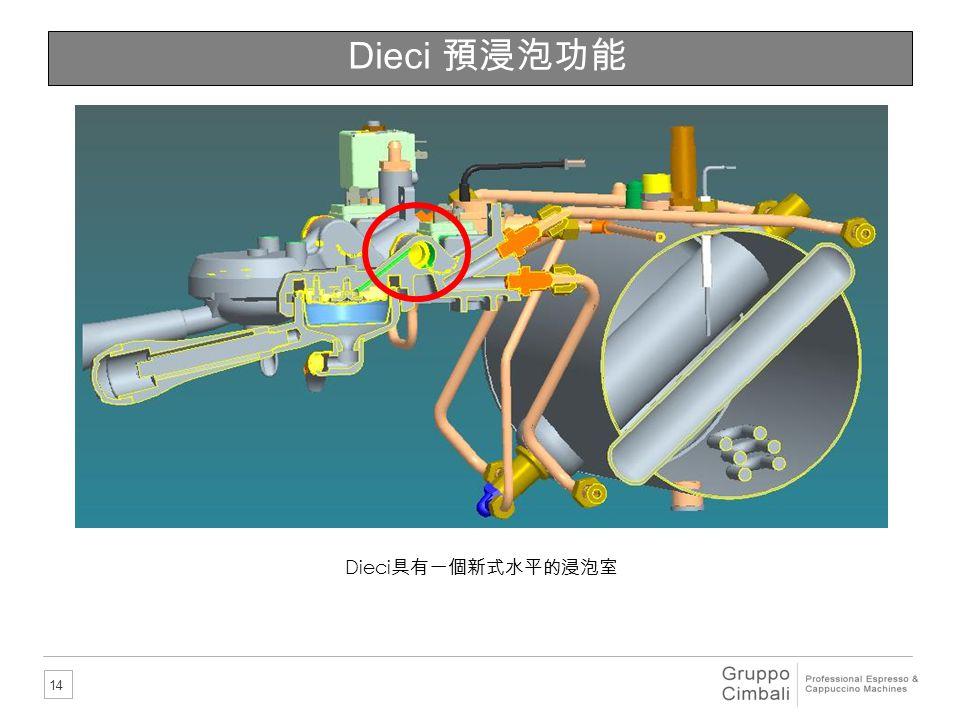 Dieci 預浸泡功能 Dieci具有一個新式水平的浸泡室