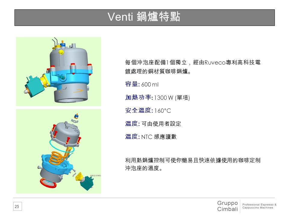 Venti 鍋爐特點 容量: 600 ml 加熱功率: 1300 W (單項) 安全溫度: 160°C 溫度: 可由使用者設定