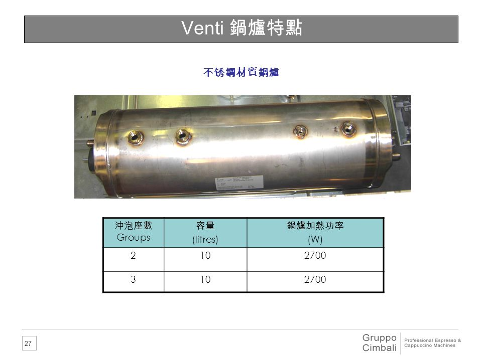 Venti 鍋爐特點 不锈鋼材質鍋爐 沖泡座數Groups 容量 (litres) 鍋爐加熱功率 (W) 2 10 2700 3