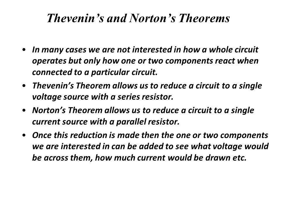 Thevenin's and Norton's Theorems