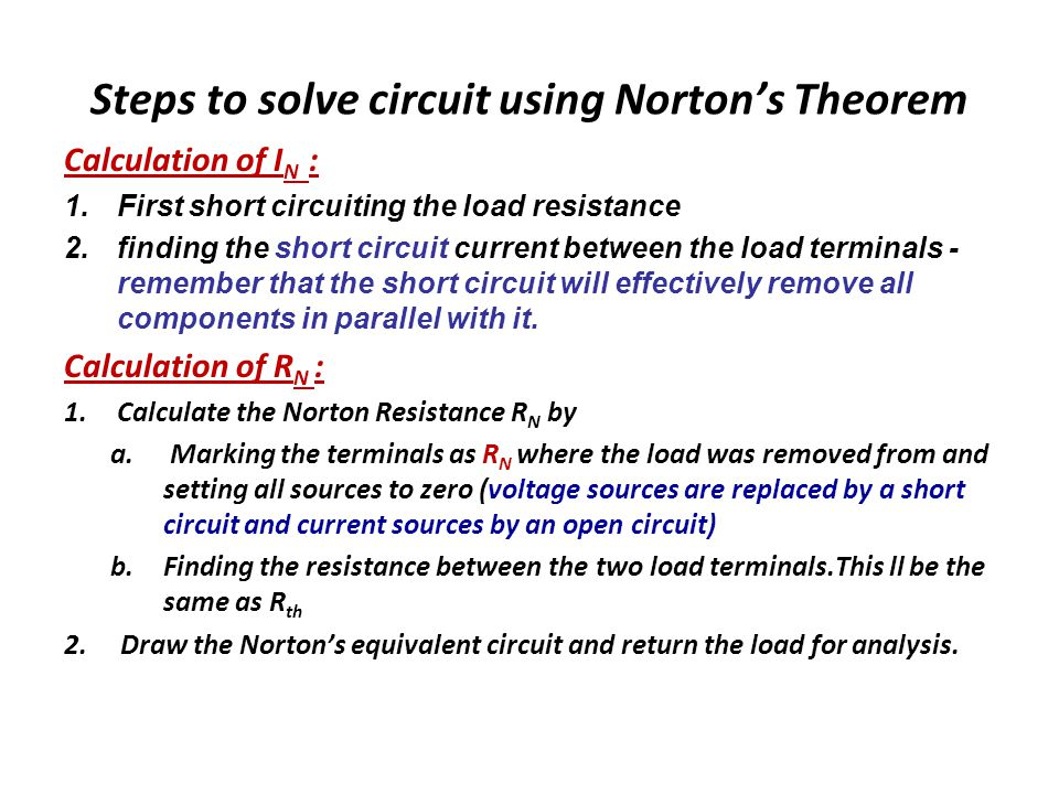Steps to solve circuit using Norton's Theorem