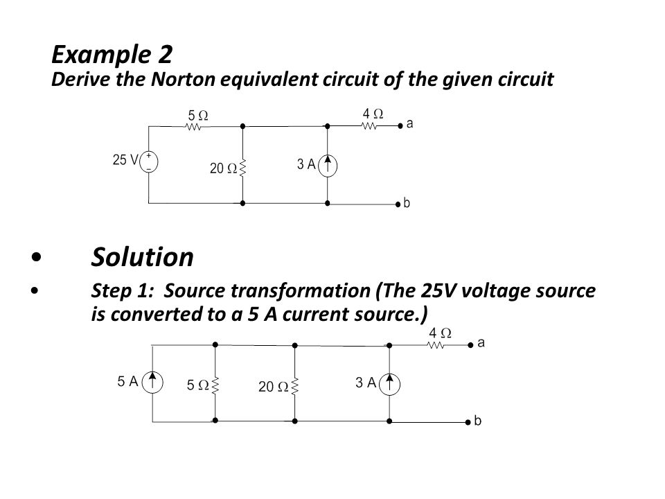 Example 2 Derive the Norton equivalent circuit of the given circuit