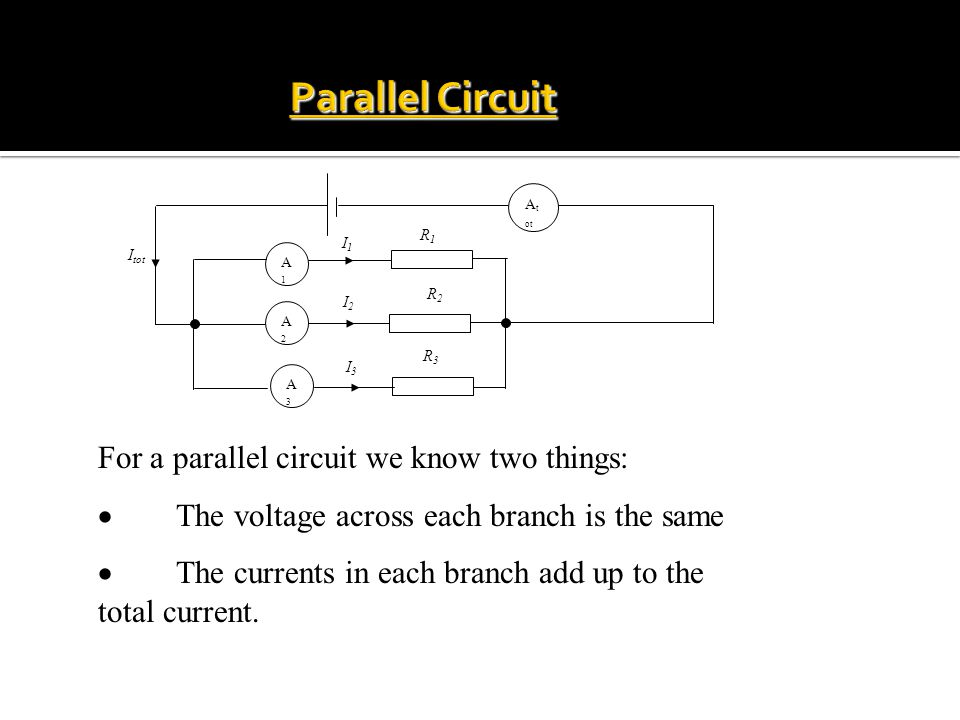 Parallel Circuit For a parallel circuit we know two things:
