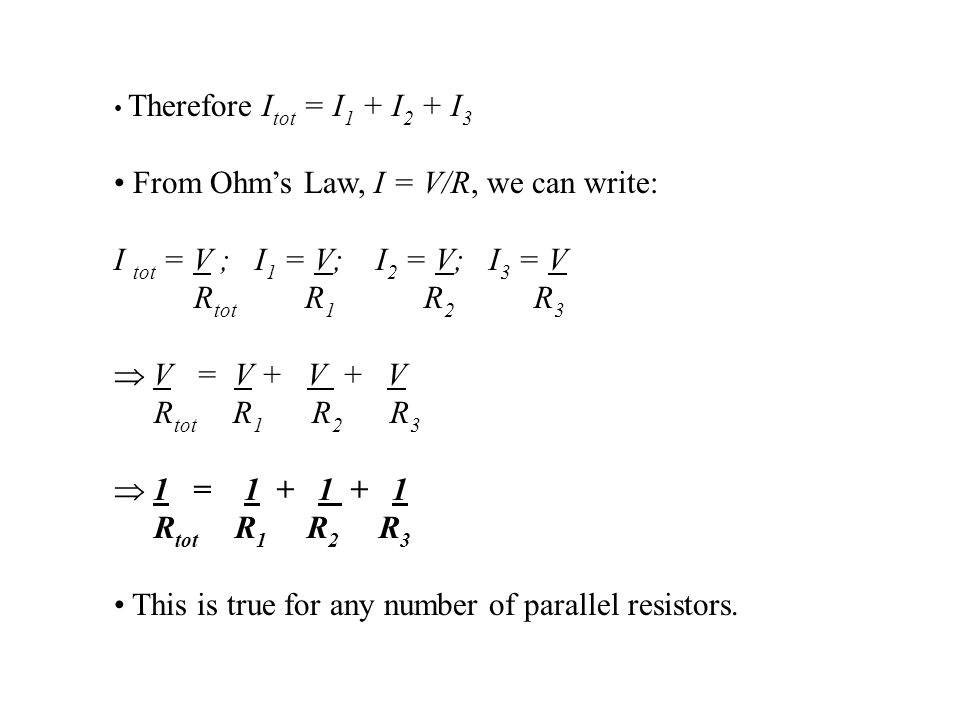 From Ohm's Law, I = V/R, we can write: