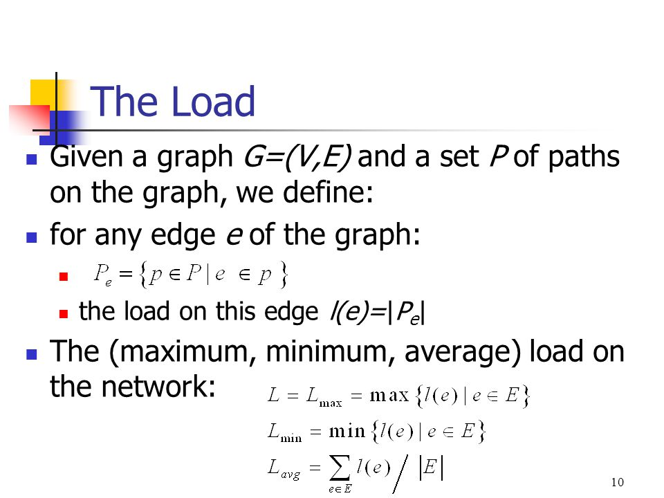 The Load Given a graph G=(V,E) and a set P of paths on the graph, we define: for any edge e of the graph: