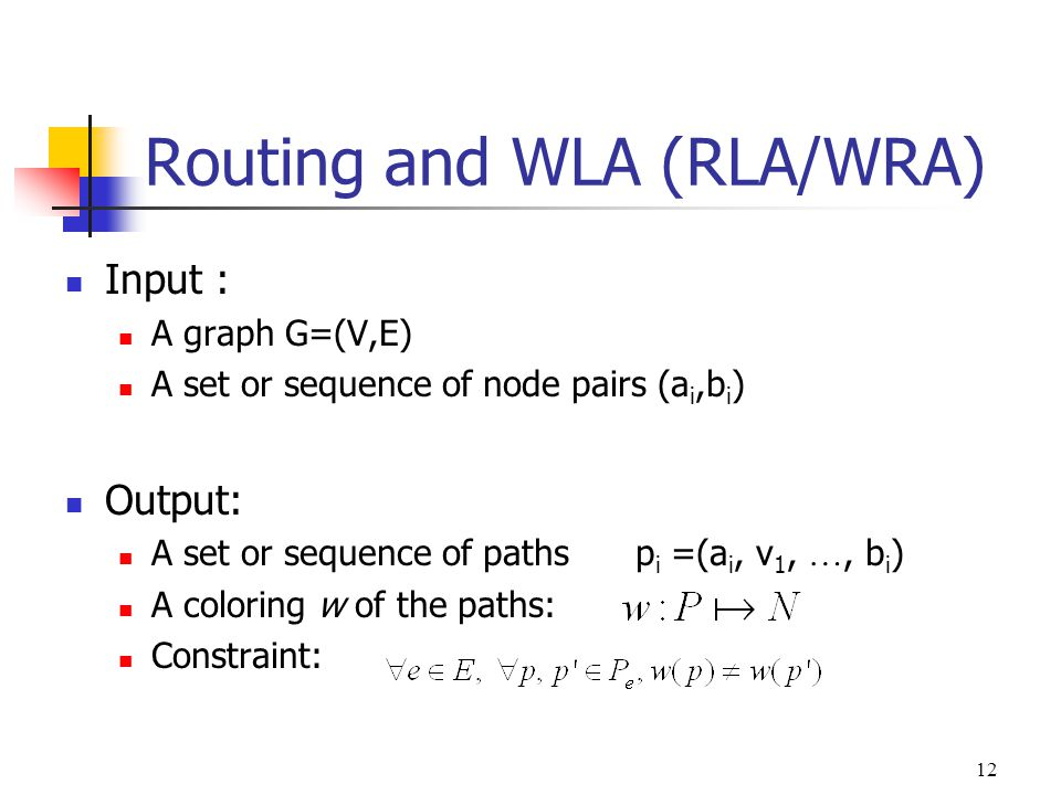 Routing and WLA (RLA/WRA)