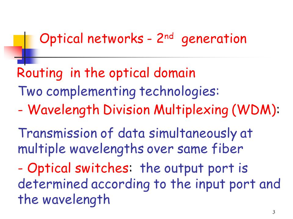 Optical networks - 2nd generation