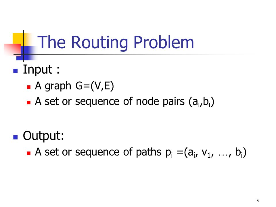 The Routing Problem Input : Output: A graph G=(V,E)