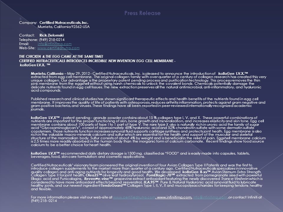Press Release Company: Certified Nutraceuticals, Inc.
